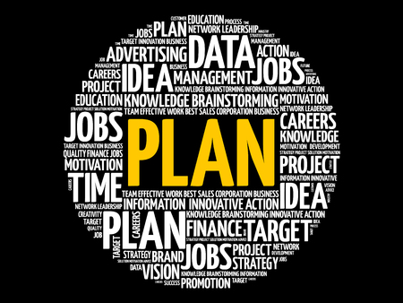PLAN word cloud collage, business concept background