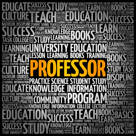 Professor word cloud collage, education concept background