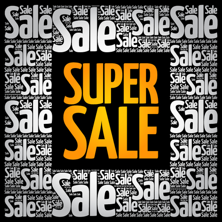 SUPER SALE word cloud collage, business concept background