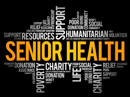 Collage de nuage de mot santé senior, fond de concept social