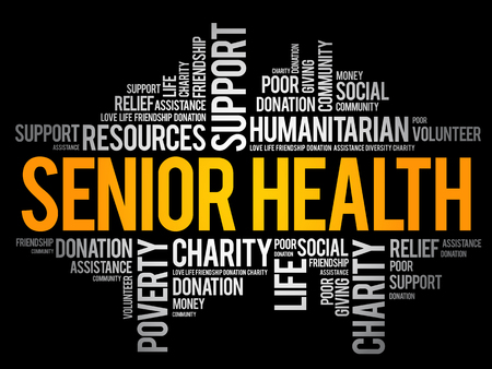 Senior health word cloud collage, social concept background