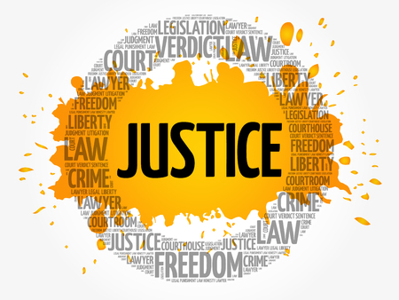 Justice word cloud concept background Illustration