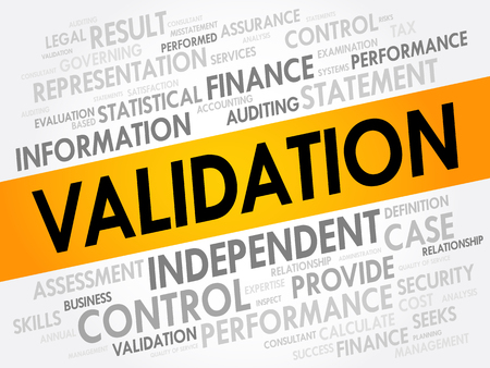 VALIDATION word cloud collage, business concept background