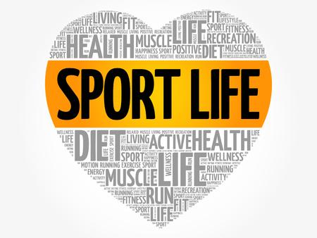 Sport Life heart word cloud, fitness, sport, health concept