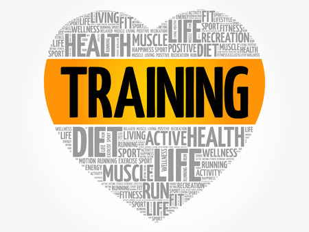 Training heart word cloud, fitness, sport, health concept