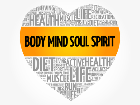 Body Mind Soul Spirit heart word cloud, fitness, sport, health concept 向量圖像