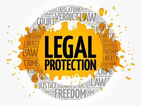 Legal Protection word cloud concept backround Ilustracja