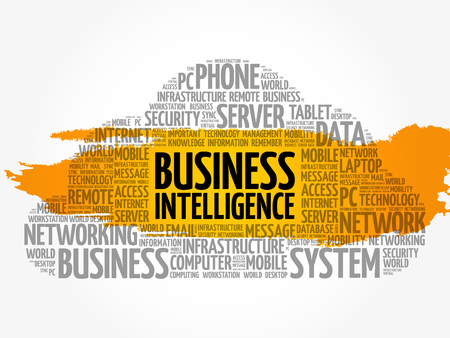 Business intelligence word cloud collage, business concept background Vettoriali