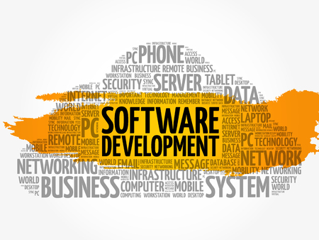 Software word cloud collage, technology concept background Illustration