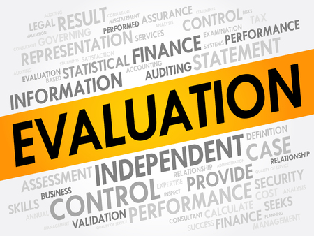 Evaluation word cloud collage, business concept background
