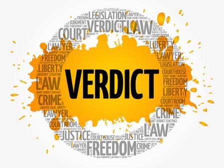 Verdict word cloud concept background
