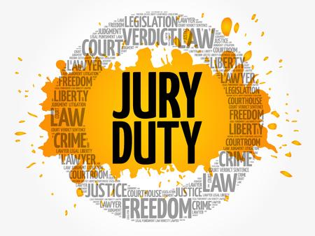 Jury Duty mot concept cloud background