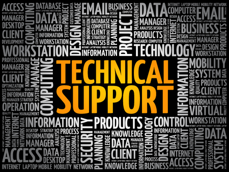 Technical support word cloud collage, technology concept background