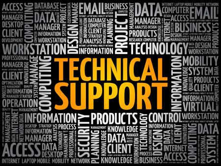 Technische ondersteuning word cloud collage, technologie concept achtergrond