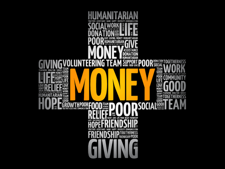 Money cross word cloud collage, social concept background