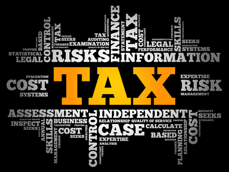TAX word cloud collage, business concept background 版權商用圖片 - 120155524