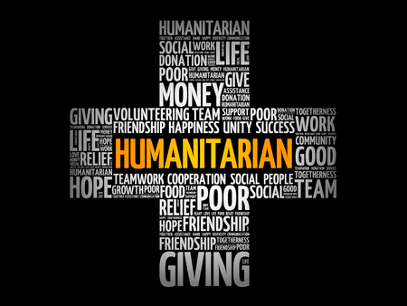 Humanitarian word cloud collage, cross concept background