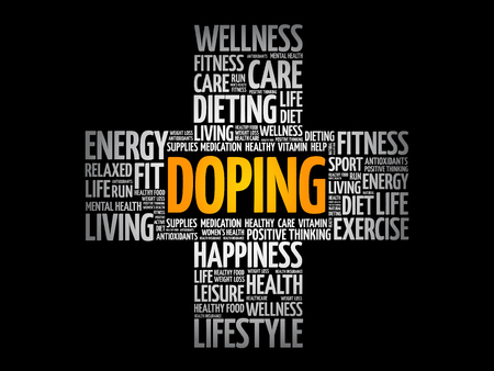 Doping word cloud collage, health cross concept background