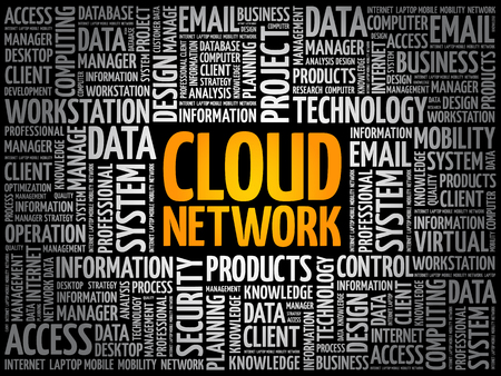 Cloud Network word cloud collage, technology business concept background