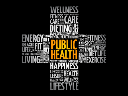 Public Health word cloud, health cross concept background Çizim
