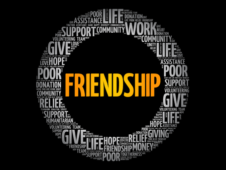 Friendship word cloud collage, concept background