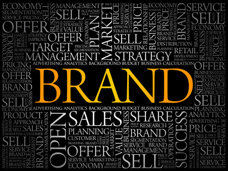 Markenwortwolkencollage, Geschäftskonzepthintergrund Vektorgrafik