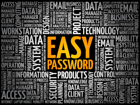 Easy Password word cloud collage, technology concept background