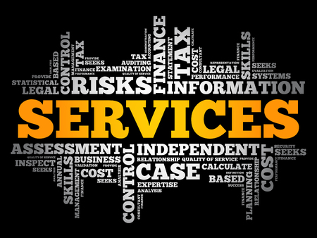 SERVICES word cloud collage, business concept background Иллюстрация