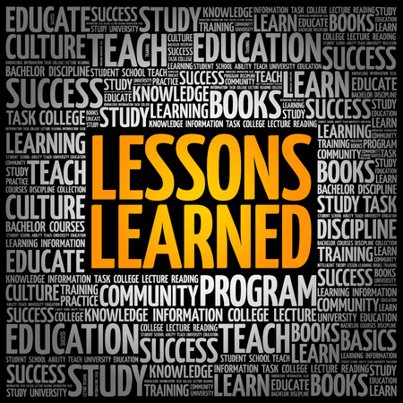 Lessons Learned word cloud, education concept background