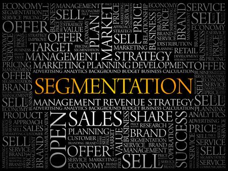 Segmentation word cloud collage, business concept background Banque d'images - 120155684