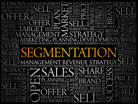 Segmentation word cloud collage, business concept background Illustration