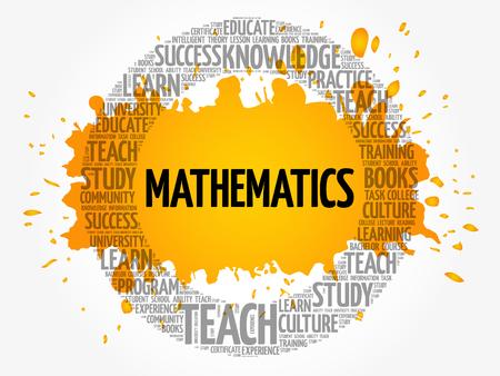 Mathematics word cloud collage, education concept background Illustration