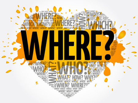 Where? Question heart, Questions words concept background Illustration