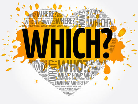 WHICH? Question heart, Questions words concept background