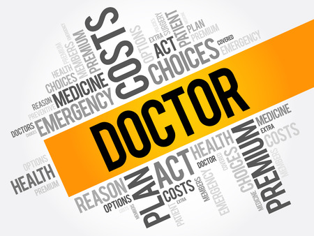 Doctor word cloud collage, health concept background
