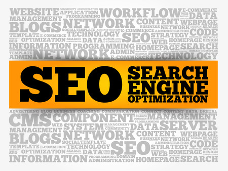 SEO (search engine optimization) word cloud collage, technology business concept background