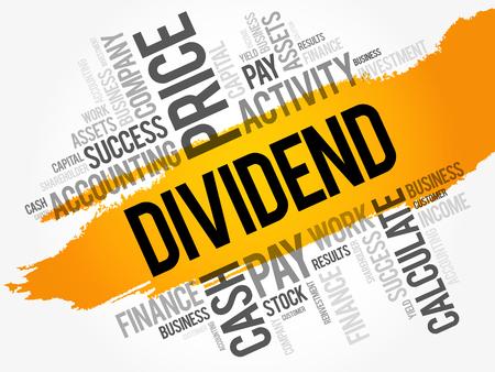 Collage de nuage de mot dividende, fond de concept d'entreprise Vecteurs