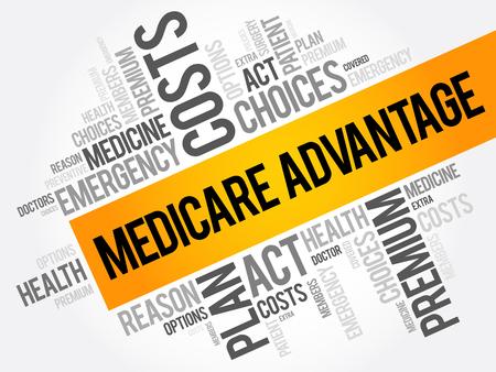 Medicare Advantage Wortwolkencollage, Gesundheitskonzepthintergrund