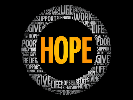 HOPE word cloud collage, social concept background