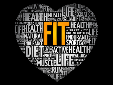 FIT heart word cloud, fitness, sport, health concept