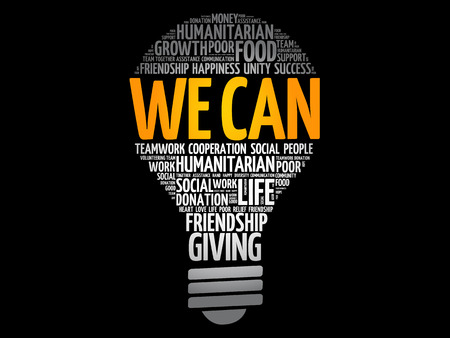 We Can bulb word cloud collage, social concept background
