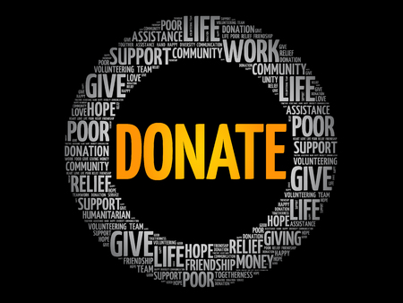 Donate word cloud collage, social concept background