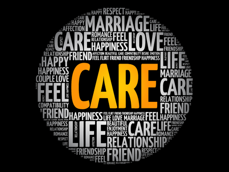 CARE circle word cloud collage, concept background Illustration
