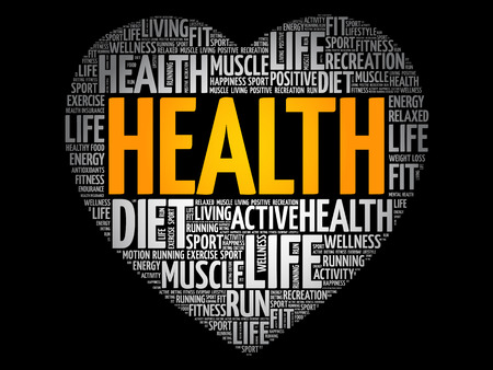 HEALTH heart word cloud, fitness, sport, health concept