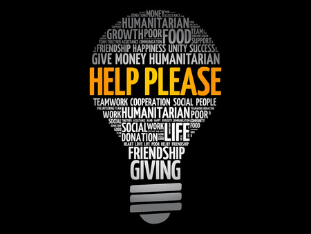 Help please bulb word cloud collage, social concept background