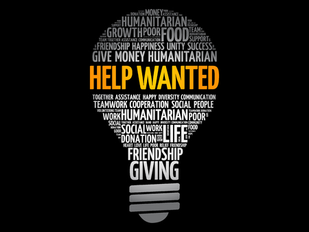 Help Wanted bulb word cloud collage, concept background