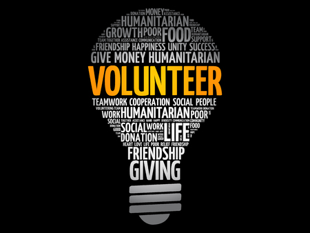 Volunteer bulb word cloud collage, social concept background