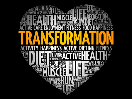 TRANSFORMATION heart word cloud, fitness, sport, health concept