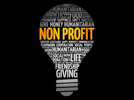 Non Profit bulb word cloud collage, social concept background