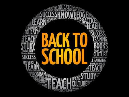 Back to School word cloud collage, education concept background 向量圖像